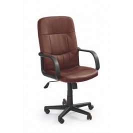 HALMAR, Denzel kožené kancelárske kreslo, hnedé, čierne