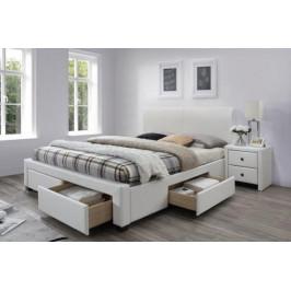 HLR, MODENA 2 posteľ 160x200 cm, biela eko koža