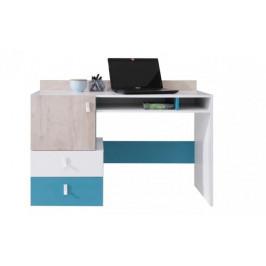 MBLR, PLUTO písací stôl, biely lesk/dub/modrá