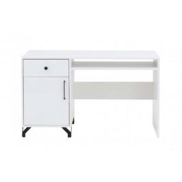 MBLR, SNOW SN 9 písací stôl, biely lesk/biela