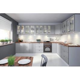 GLM, LINEA systémová kuchynská linka, šedý mat / biely mat