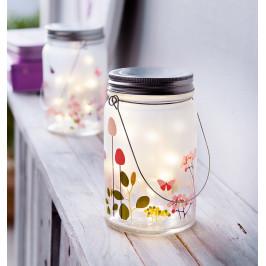 """LED sklenená lampáš """"Kvetinová lúka"""""""