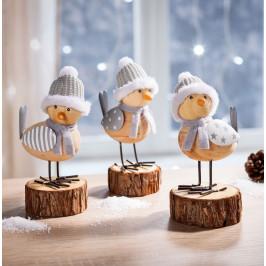 Dekorácie Zimný vtáčik, súprava 3 ks