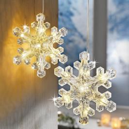 LED Závesná dekorácia Vločka, 2 ks