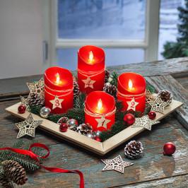 Adventná sada LED sviečok s dekoráciou, červená