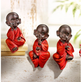 Figúrky Malí sediaci mnísi, súprava 3 ks