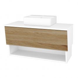 Dreja - Koupelnová skříň INVENCE SZZO 100 (umyvadlo Joy 3) - L01 Bílá vysoký lesk / A01 Dub (masiv) (250126)