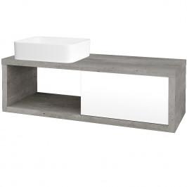 Dreja - Koupelnová skříň STORM SZZO 120 (umyvadlo Joy) - D01 Beton / L01 Bílá vysoký lesk / Levé (214555)