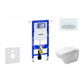 GEBERIT - Duofix Modul pro závěsné WC s tlačítkem Sigma50, alpská bílá + Duravit D-Code - WC a sedátko, Rimless, SoftClose (111.355.00.5 NH8)