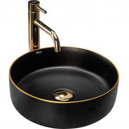 REA - Umyvadlo na desku Sami 36x36 černá/zlatá matná (REA-U0595)