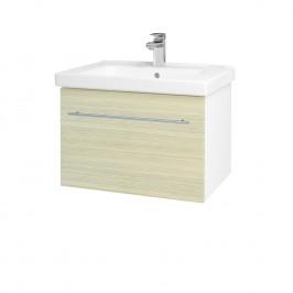 Dreja - Koupelnová skříň BIG INN SZZ 65 - N01 Bílá lesk / Úchytka T02 / D04 Dub (132415B)