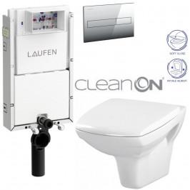 LAUFEN Podomít. systém LIS TW1 SET s chromovým tlačítkem + WC CERSANIT CLEANON CARINA + SEDÁTKO (H8946630000001CR CA2)
