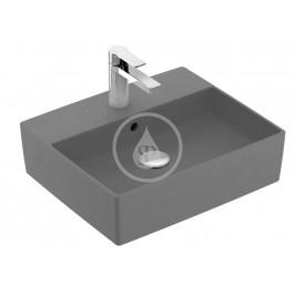 VILLEROY & BOCH - Memento 2.0 Umyvadlo na desku 500x420 mm, s přepadem, otvor pro baterii, CeramicPlus, Concrete (4A0750TDS7)