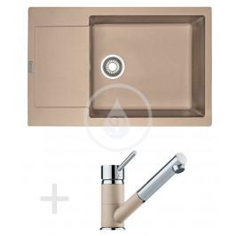 FRANKE - Sety Kuchyňský set G78, granitový dřez MRG 611-78 BB, pískový melír + baterie FG 7486, pískový melír (114.0365.700)