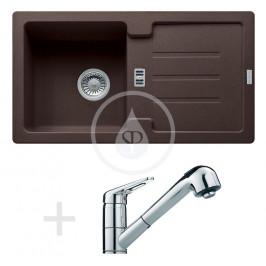 FRANKE - Sety Kuchyňský set G82, granitový dřez STG 614-78, tmavě hnědá + baterie FC 9547, chrom (114.0365.750)