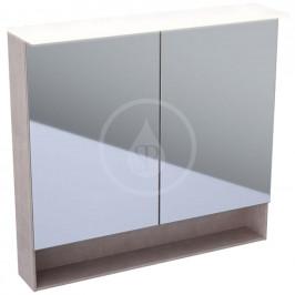 GEBERIT - Acanto Zrcadlová skříňka 890x830 mm s LED osvětlením, dub Mystic (500.646.00.2)