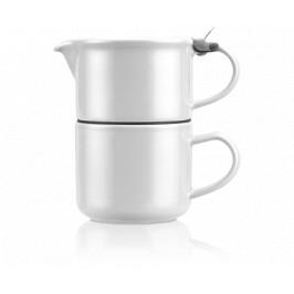 Čajová kanvička so šálkou ForLife TeaForOne, 0,4 l, biela