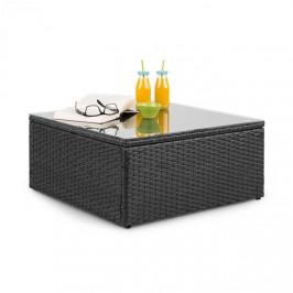 Blumfeldt Theia, odkladací stolík, polyratan, sklenená doska, čierny