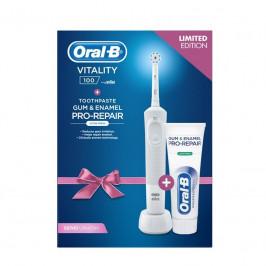 Zubná kefka Oral-B Vitality 100 D100 White Sensi. + PRO G&E... Dárkové balení elektrického zubního kartáčku a zubní pasty Oral-B.