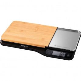 Kuchynská váha Sencor SKS 6500BK... 4 senzory pro vyšší přesnost vážení, váživost do 5 kg (rozlišení 1 g), ukazatel objemu vody a mléka.