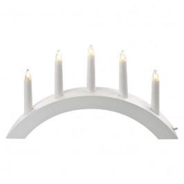 LED dekorace  Emos Svícen na 5× žárovičku E10 dřevěný bílý, oblouk,...