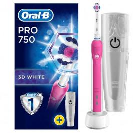 Zubná kefka Oral-B Pro 750 3D White + cestovní pouzdro... + dárek Oscilačně-rotační pulzní technologie, nabíječka a cestovní pouzdro součástí balení.