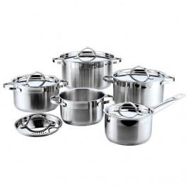 Sada hrncov Banquet 48Rw121810dt... Celonerezová sada nádobí s lesklými poklice s otvory pro snadné slévání tekutin. Vhodná pro všechny typy sporáků i