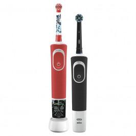 Set zubných kefiek Oral-B Vitality 100 D100 Cross Action Black +... Rodinný set - elektrický zubní kartáček s 2D technologií čištění zubů a dětský ele