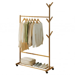 TEMPO KONDELA Pojazdný vešiak, bambus, šírka 100cm, VIKIR TYP 3