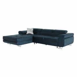 TEMPO KONDELA Rohová sedacia súprava, modrá, ľavá, AMARETA