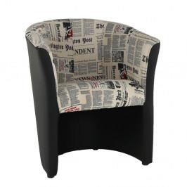 TEMPO KONDELA Klubové kreslo, ekokoža čierna/látka vzor novín, CUBA