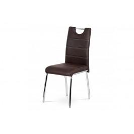 AUTRONIC AC-9930 BR3 jedálenská stolička, hnedá látka v dekore brúsenej kože kov chrom