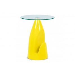 AUTRONIC AF-2063 YEL stolík 50x62cm , 8mm číre sklo, vysoký lesk žltý