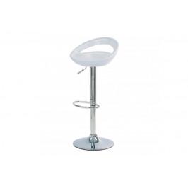 AUTRONIC AUB-404 WT barová stolička,biely plast, chromová podnož, výškověo nastavitelná