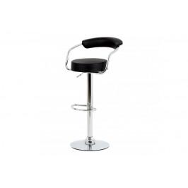 barová stolička, čierna ekokoža, chromová podnož, výškovo nastavitelná