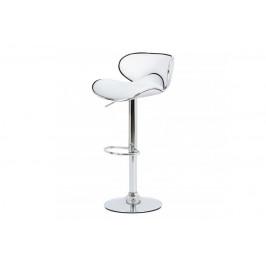 barová stolička, biela koženka, chromová podnož, výškovo nastavitelná