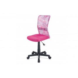 AUTRONIC KA-2325 PINK kancelárska stolička, ružová mesh, plastový kríž, sieťovina motív
