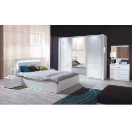 TEMPO KONDELA Spálňový komplet (skriňa+posteľ 160x200+2x nočný stolík), biela/vysoký biely lesk HG, ASIENA