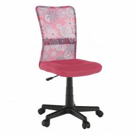 TEMPO KONDELA Otočná stolička, ružová/vzor/čierna, GOFY