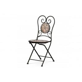 AUTRONIC JF2226 Zahradní židle, keramická mozaika, kov, černý lak (designově ke stolu JF2225)