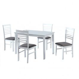 TEMPO KONDELA Jedálenský set, MDF biela/látka sivá, BRISBO 1+4