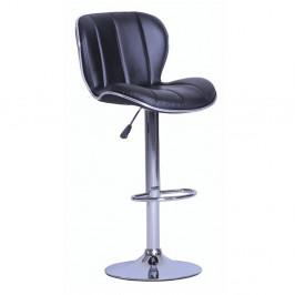 TEMPO KONDELA Barová stolička, čierna/chrómovaná, DUENA