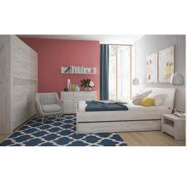 TEMPO KONDELA Spálňový komplet, (skriňa, posteľ 160x200, 2x nočný stolík), biela craft, ANGEL