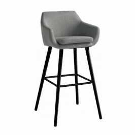 TEMPO KONDELA Barová stolička, sivohnedá látka/čierna, TAHIRA
