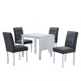 TEMPO KONDELA Jedálenský set s rozkladacím stolom, biela/sivá, BJORK NEW 1+4