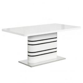 TEMPO KONDELA Jedálenský rozkladací stôl, biela vysoký lesk HG/čierne pásy, TUBAL