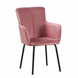 TEMPO KONDELA Dizajnové kreslo, ružový zamat/čierna, VETAR