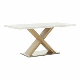 TEMPO KONDELA Jedálenský stôl, biela s vysokým leskom HG/dub sonoma, FARNEL