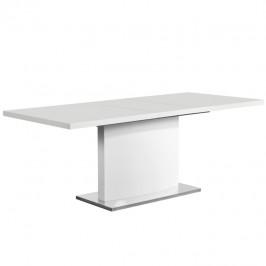TEMPO KONDELA Rozkladací jedálenský stôl, biela vysoký lesk HG, KORINTOS