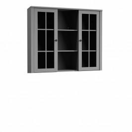 TEMPO KONDELA Nadstavec na komodu W2D, vitrína, sivá, PROVANCE